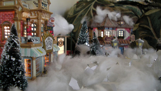 A shot of the Christmas village my son built - Street view of a toy shop.